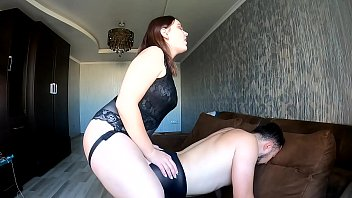 The mistress changed the guy into pantyhose and punished the mistake (pegging)