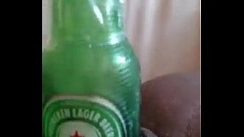 Spraying of out woman pussy beer
