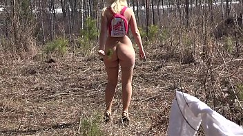The girl in the forest wanted to be closer to nature and she took off her clothes. Naked overgrown cunt and juicy butt look harmonious in the outdoors.