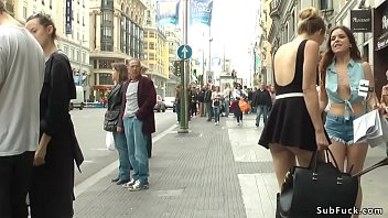 American tourist slut Juliette March making selfies in public when hot blonde taking her under control and draging her in bar