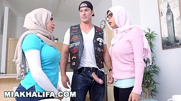 Mia khalifa white devil fucks his busty arab girlfriend and her hot step mom