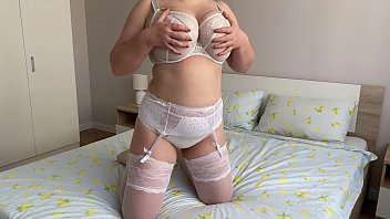 Curvy teen in lace lingerie with hairy pussy