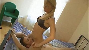 blonde facesitting and jerking a lucky guy