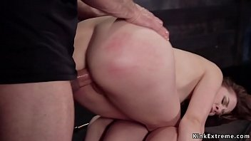 Pretty and kind slim natural brunette beauty Zoey Laine in sitting bondage with nipples clamped gets pussy vibrated then fucked by big cock master Thumbnail