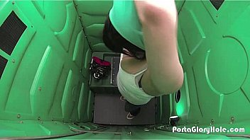 Porta Gloryhole Woman strips in public ports potty