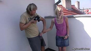 A young beauty sucked an old man and gave herself a fuck