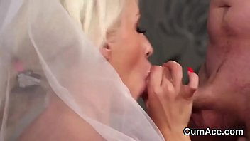 Peculiar centerfold gets cum shot on her face swallowing all the charge