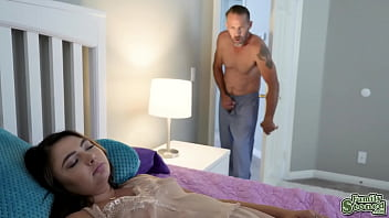 Pervy stepdad sneaks into DAkota Knights bedroom and plays with her pussy