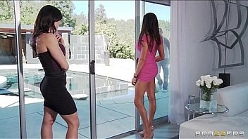 Two big tit brunette milf's seduce and fuck their poolboy