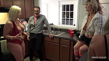 Horny housewives blowing huge dicks at a swingers sex party