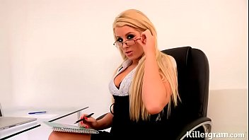 Boss has left work and lustful secretary fucks colleague