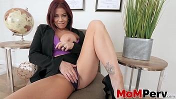 Redhead milf masturbating in front her stepson