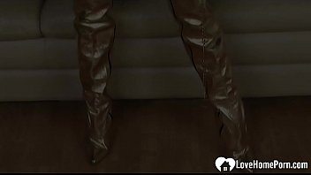 She will take off everything besides her boots before she fingers her slit.