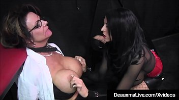 Cougar Slave Deauxma is pussy whipped while released from her cage by younger femdom babe Louise Jenson who has her way with Deauxma until it is time to go back into her kennel!