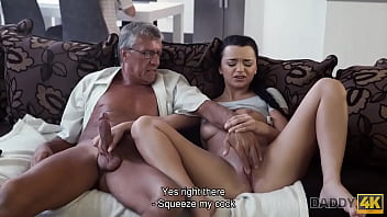 DADDY4K. Boy works on computer while his GF seduces guys old daddy