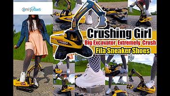Large excavator is crushed, smashed, crushed, broken plastic car, crush toy car