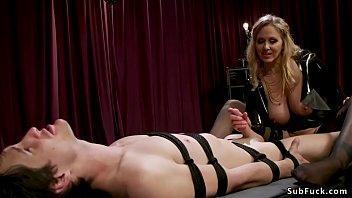 Hot blonde big tits dominatrix Julia Ann in latex fetish lingerie anal fucks slave