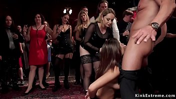 Sluts Jaye Summers and Sydney Cole under submission of big tits mistress Aiden Starr sucking big cock and getting facial then fucking at bdsm party Thumbnail