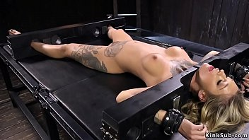 Alt pain slut blonde Kleio Valentien with super hot body and big tits with clamped nipples suffers different bondage devices