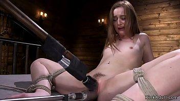 Small tits solo brunette masturbates with vibrator then in bondage fucks machine
