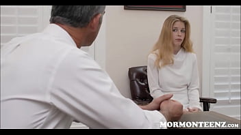 Young Petite Redhead Mormon Girl Orgasms While Masturbating In Front Of President