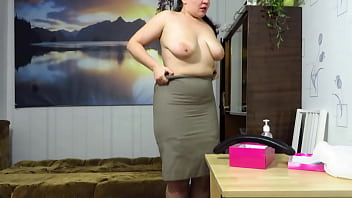 Chubby teacher with glasses tests a big rubber dick with her big tits and shaved pussy. This mature BBW with a juicy PAWG gets sexually turned on, strips, and fucks hot.