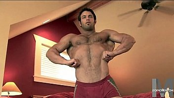 Hot hairy muscle stud jerking his gorgeous cock