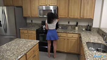 Latina brunette Natalie Brooks fucks her man in the kitchen