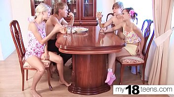 MY18TEENS - Lesbians Suck and Rough Sex - Group Sex