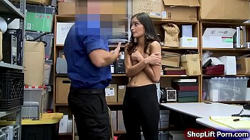 Teen brunette is arrested by a store officer for stealing a couple of clothes.After that,the officer conducts a strip search and he then tells her that maybe they can settle this in a good way.The officer pulls out his cock and fucks her tight pussy. Thumbnail