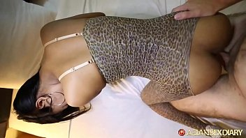 Asian hottie gets pussy unloaded in by big white dick