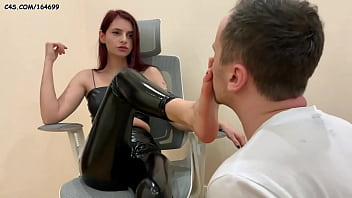 Rough Fetish Goddess In Leather Clothing and Boots Hard Humiliation Her Loser Slave - Foot Worship and Boots Licking Female Domination BDSM (Preview)