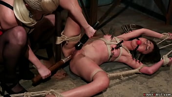 Blonde wife Cherry Torn ties hot petite Asian masseuse Marica Hase after found out husband cheating with her and gives her corporal punishment and anal sex with strap on cock
