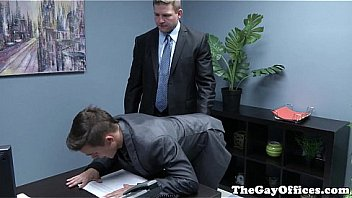 Muscular office boss pounding black ass
