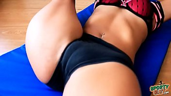 Round Booty Teen Stretching in Tight Shorts. HOT Cameltoe!