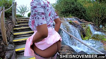 Erotic 4k HD Msnovember Naked Ebony Butt Flashing Outdoors By A Water Fall With Up Skirt Public Nudity, Dark Panties To Her Knees And Thighs , Great Ass Cheeks Grab By Man