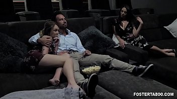 Foster dauther joins her parents in a family threesome