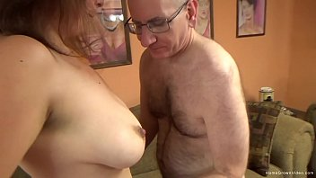 Cute brunette with big natural tits gets fucked by an older man