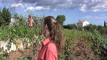 Slut farmer having sex in the orchard