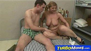 Bushy big natural tits milf Jana fucking a horny boy