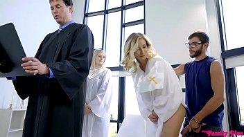 Sexy blonde priestess fucks with priest