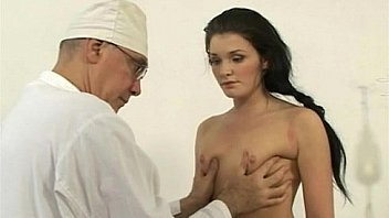 A plump busty russian babe on a gyno exam gets rude