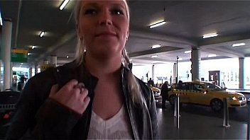 Hot blonde babe catched on the airport and fucked for some money