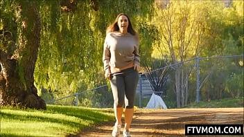 Chanel Preston flashing natural tits outdoor