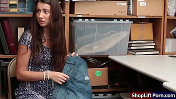 Busty teen is caught by store security shoplifting shorts in the department store.He brings her into the office and conducts a strip search.After that,he tells her that if he can fuck her and makes him happy he wont call the cops and let her go.