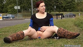 Roundabout toying of public amateur exhibitionist Isabel Dean flashing shaved