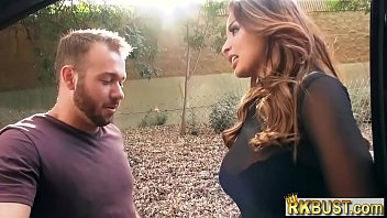 Leather pants French MILF Anissa Kate picked up and fucked