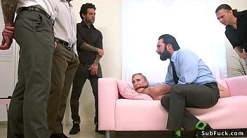 Tommy Pistol ties sexy hairy pussy blonde home seller Riley Reyes and lets group of home buyers gangbang and double penetration fuck her