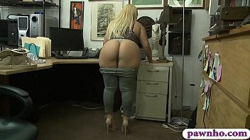 Big tits blondie woman gives a blowjob and gets her pussy rammed good by pawn dude inside pawnshops office