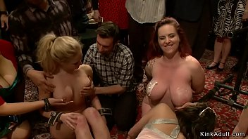 Master in gimp mack with big dick fucks two hot blonde slaves for public in bdsm orgy party